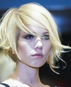 Asymmetrical side swept bob