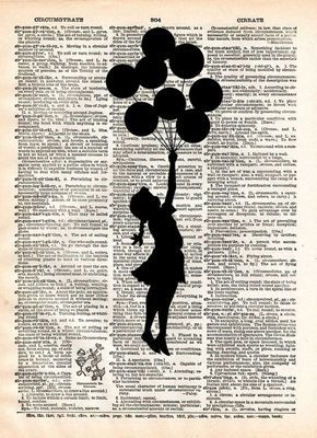 Banksy Girl with Balloons, street art, banksy print, vintage dictionary page book art print -  - 1