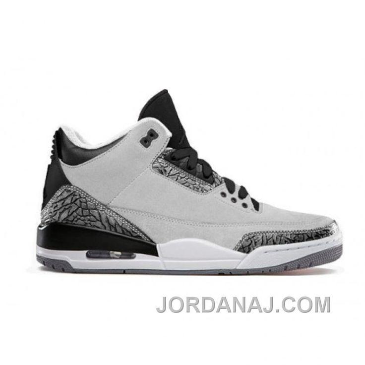 a1e0dcb9aae9a0 Authentic 136064-004 Air Jordan 3 Retro Wolf Grey Metallic Silver-Black- White