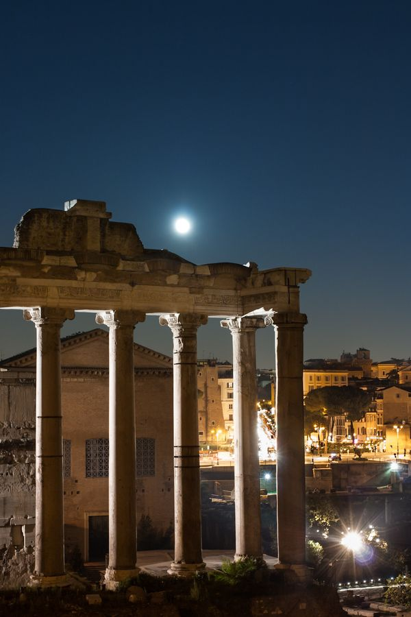 Tempio di Saturno, Forum Romanum - Rome, Italy  Across the street behind the trees in the right of photo is the Forum Hotel where we stayed for one whole wonderful week.