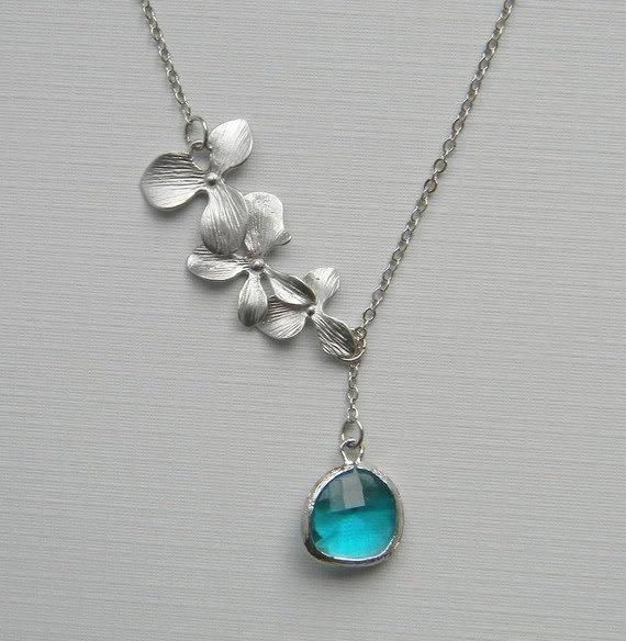 Silver Lariat Orchid Necklace Silver Orchids and by DanaCastle, $27.00