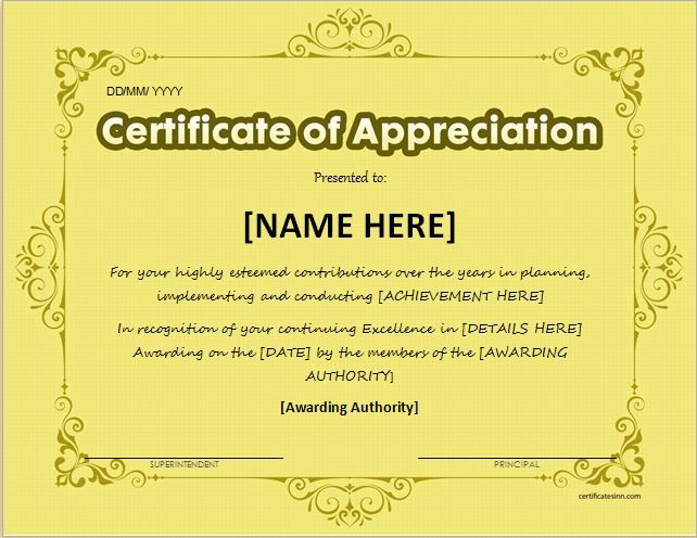 133 best Certificates images on Pinterest Award certificates - certificate of appreciation template for word