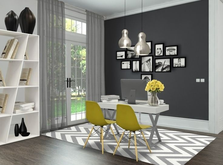 Yellow Grey Yellow Office Grey Office Decor Office