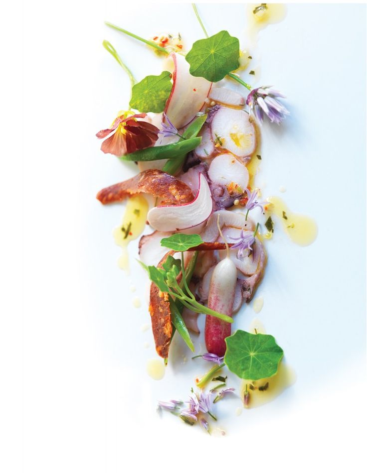 Giant Pacific Octopus Carpaccio from Chef Andrew Winfield, River Cafe, Calgary, AB #GourmetThis