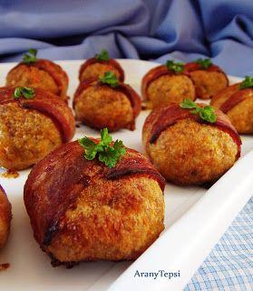 AranyTepsi: Sárgarépás fasírtgolyók baconben sütve