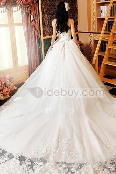 Robe de Mariée A-Line Sans Bretelles Longueur Sol Traîne Cathédrale  Wedding Dress A-Line Strapless Floor-Length Cathedral Train
