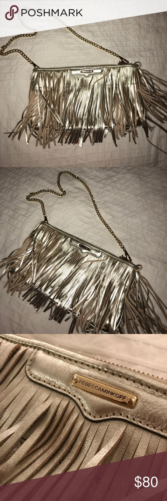 ✨Rebecca Minkoff Gold Metallic Fringe Purse✨ Fun, flirty, fringe purse! Great neutral color for all seasons!! *Used Once* Rebecca Minkoff Bags Shoulder Bags