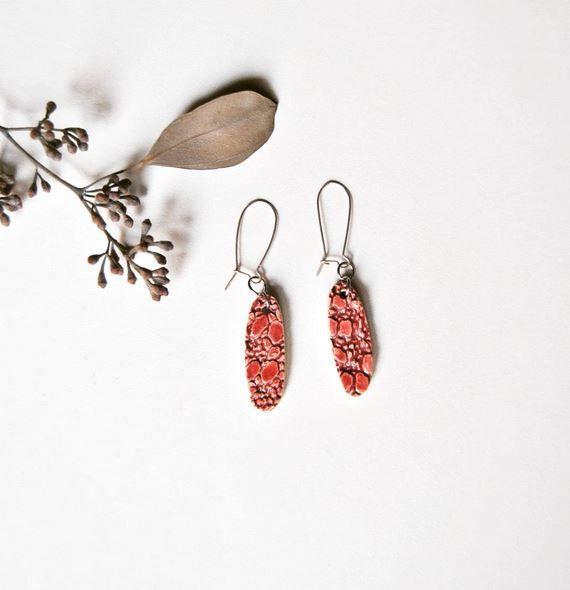 Ceramic earrings pink doily textured handmadein Itay