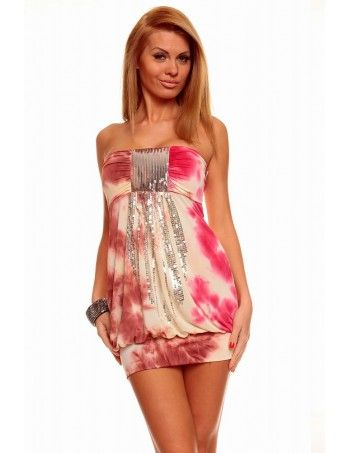 Rose Bandeau Mini Sexy Dress with Sequins is a sure way to Keep your going-out style girly. For party-ready style, we love this bandeau mini dress. It has a sweetheart neckline with shinny sequins on front. It is a mini length and form fitting style - perfect for proms, weddings, or glamorous nights on the town.
