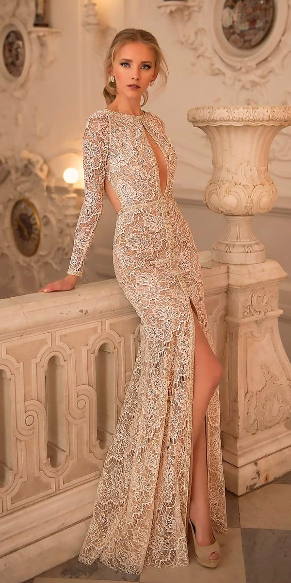 33 Chic Bridal Dresses: Styles & Silhouettes ❤ bridal dresses vintage lace long sleeves with high slit netta ben shabu ❤ See more: http://www.weddingforward.com/bridal-dresses/ #weddingforward #wedding #bride