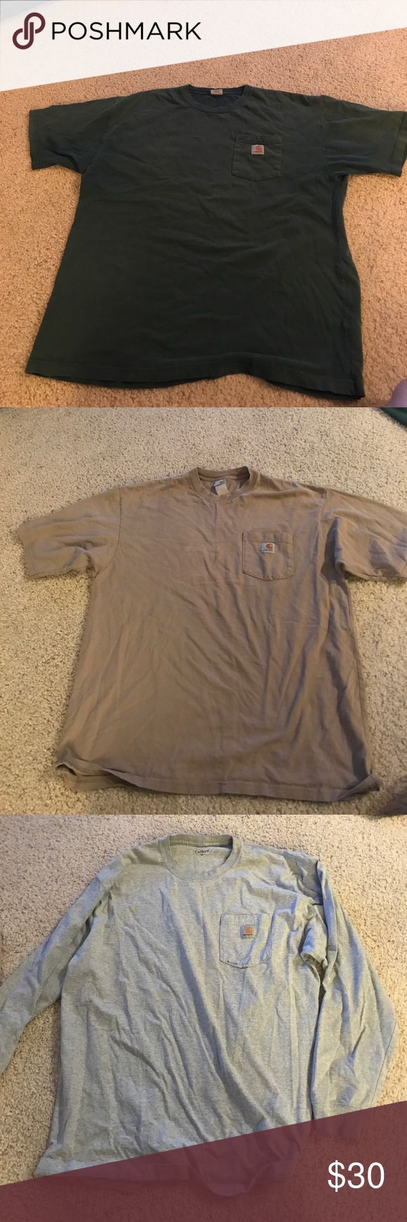 Carhartt shirts lot of 3 3 carhartt shirts. 2 short sleeve, 1 long sleeve. Long sleeve has small stain on pocket. All XL in used condition Carhartt Shirts Tees - Short Sleeve
