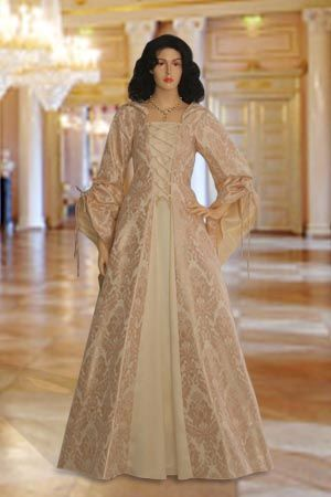 Medieval Renaissance Maiden Dress Gown with Hood Handmade from Brocade | eBay