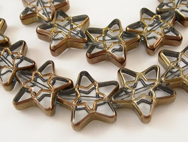 20 Red Copper Plated Glass Star Beads - about 16mm. Starting at $1 on Tophatter.com!