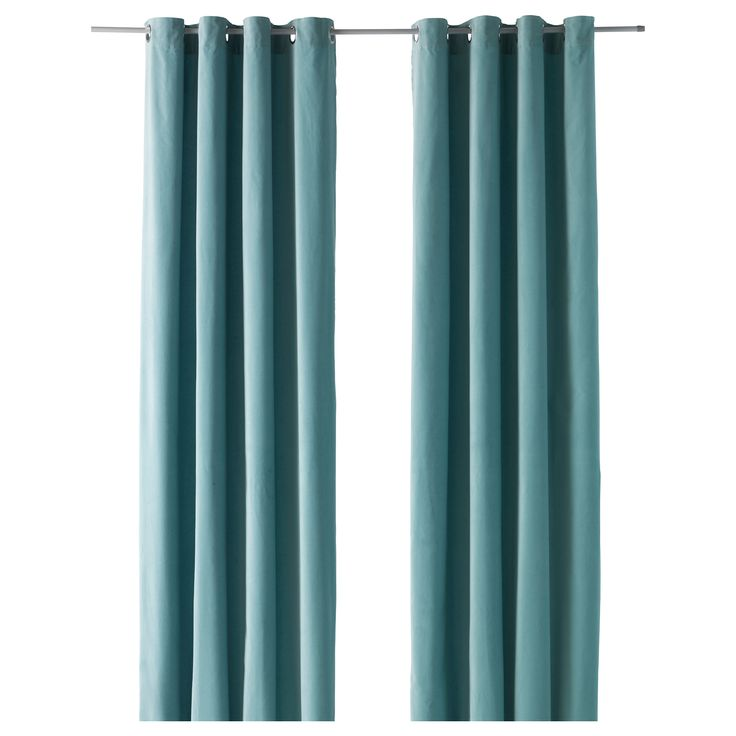 "SANELA Curtains, 1 pair - light turquoise, 55x98 "" - IKEA; $49.99 per pair. Look thicker and like the grommets."