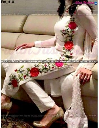 Give yourself a stylish & designer look with this Marvellous White Embroidered Punjabi Suit. Embellished with Embroidery work and lace work. Available with matching bottom & dupatta Little Bit different. It will make you noticable in special gathering. You can design this suit in any color combination or on any fabric. Just whatsapp us for more details. For more details whatsapp us +919915178418