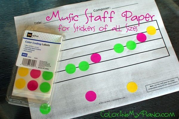 A whole pdf of specially-sized staff paper for composing music with stickers!