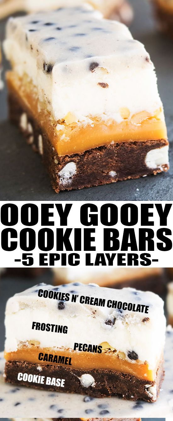 Easy COOKIE BARS recipe, composed of 5 layers and made with simple ingredients. These dessert bars are packed with cookies, caramel, chocolate, frosting and pecans. From category winner Sandy of the #PillsburyBakeOff, recipe found on cakewhiz.com {Ad} #MadeAtHome #cookie #dessert #recipes #caramel #snack #sweet