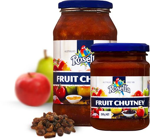 Fruit Chutney  A deliciously balanced and truly flavoursome classic iconic chutney. Once you taste the delicious combination of sweet fruits, vegetables and savoury spices, you'll soon understand why this traditional Rosella recipe is a favourite in an abundance of households. Boasting real fruit pieces such as juicy sultanas and currants, Rosella fruit chutney is truly irresistible any on sandwich, wrap or roll.  Available in 250g and 525g jars.