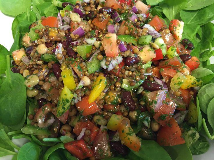 En dejlig spicy salat med masser at proteiner fra bønnerne og linserne. 2 dåser bønnemix ( jeg ved faktisk ikke hvor man kan købe dem, fi havde fået et par dåser i prøve fra en sælger, men ellers er det jo bare at købe den hver for sig. Der var bønner, kikærter og linser i.)…