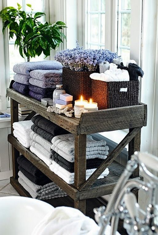 Love the lavendar and rustic wood colors 53 Bathroom Organizing And Storage Ideas – Photos For Inspiration