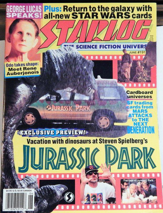JURASSIC PARK Cover Starlog Magazine #191 June 1993; George Lucas, Rene Auberjonois, Star Wars Cards, Mars Attacks, Steven Spielberg