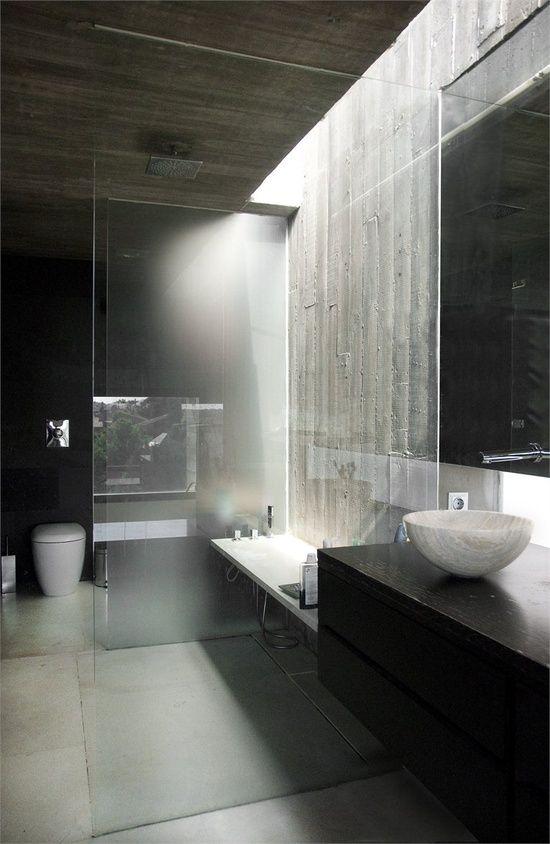 bathroom exposed ceiling lighting bath. beautiful contemporary bathroom design wood plank formed concrete walls u0026 ceiling shift light reveal exposed lighting bath