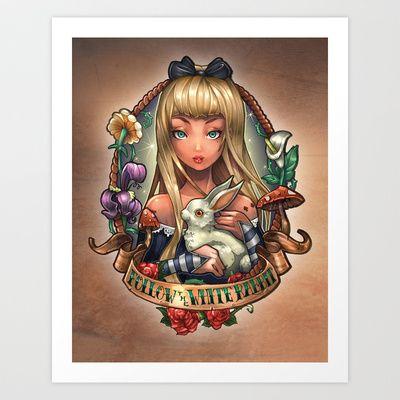 Follow The White Rabbit. Art Print by Tim Shumate - $19.76