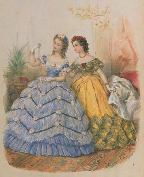 Ooh la la! I love them both, but I could see myself in the yellow one - with red trim!!    La Mode Illustrée, 1863