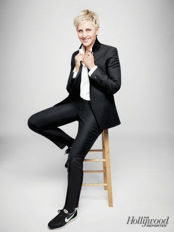 Yes, Ellen DeGeneres. Like it or not, she is always impeccably styled and wears menswear better than the next guy..  She always makes me envious of what she's wearing..