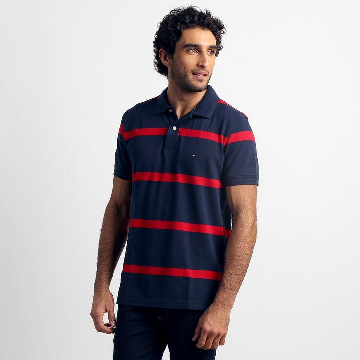 Camisa Polo Tommy Hilfiger Listrada Marinho e Vermelho | Zattini