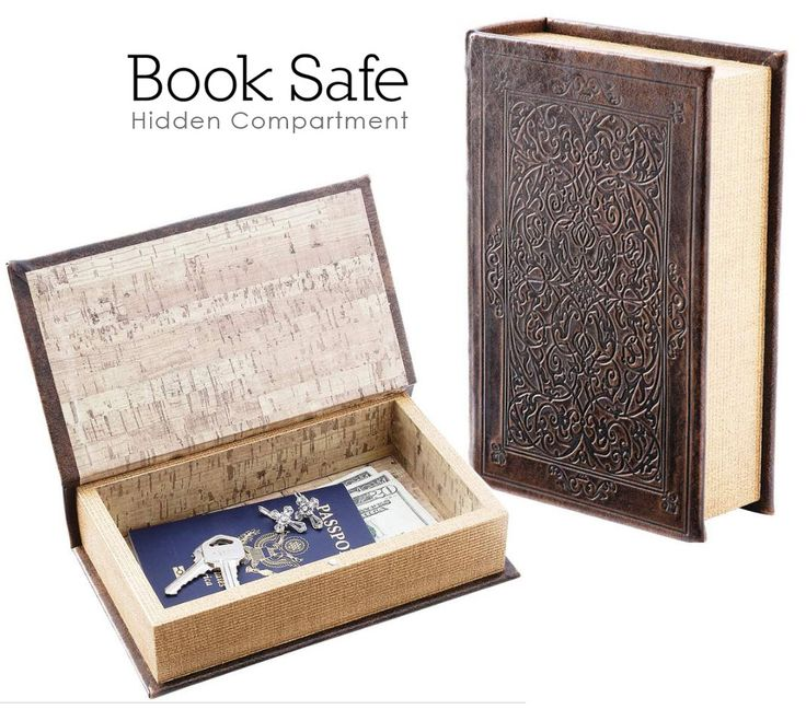 Book Hidden Safe Brown Faux W Magnetic Closure Inner