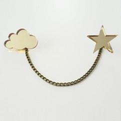 Bulut Yıldız Altın Broş - #tasarim #tarz #altin #rengi #moda #nishmoda #gold #colored #design #designer #fashion #trend