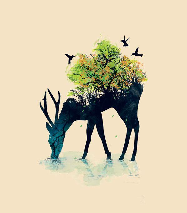 Amazing tattoo idea! Budi Kwan's graphics are incredible. Deer, tree, hummingbird