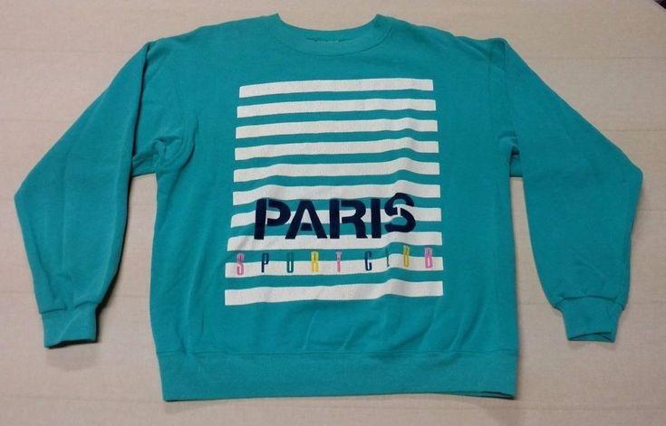 Vintage Women Ladies PARIS SPORT CLUB L/S Sweatshirt Sweater Large 42-44 USA EUC #Hanes #SweatshirtCrew