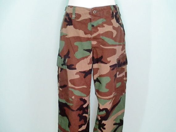 Authentic Camo Pants 90's Camo Pants 90's Cargo by ChinaCatVintage