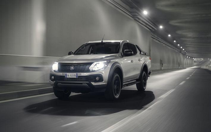Download wallpapers Fiat Fullback Cross, 4k, 2017 cars, pickup, road, headlights, Fiat