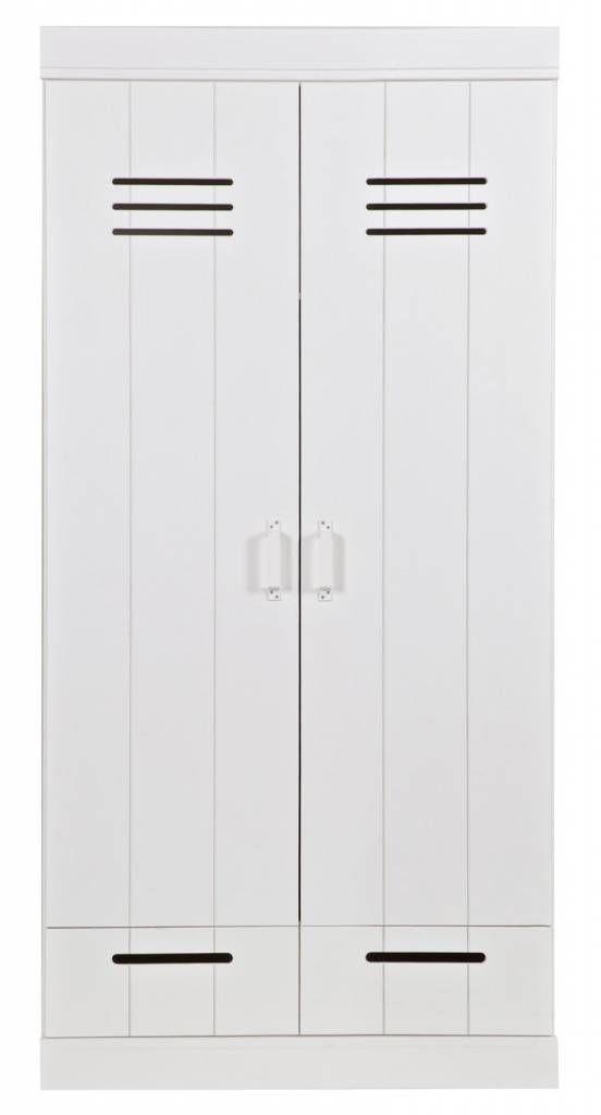 LEF collections Kledingkast 'Connect' 2 deurs lockerdeur met lades wit grenen 195X94X53cm
