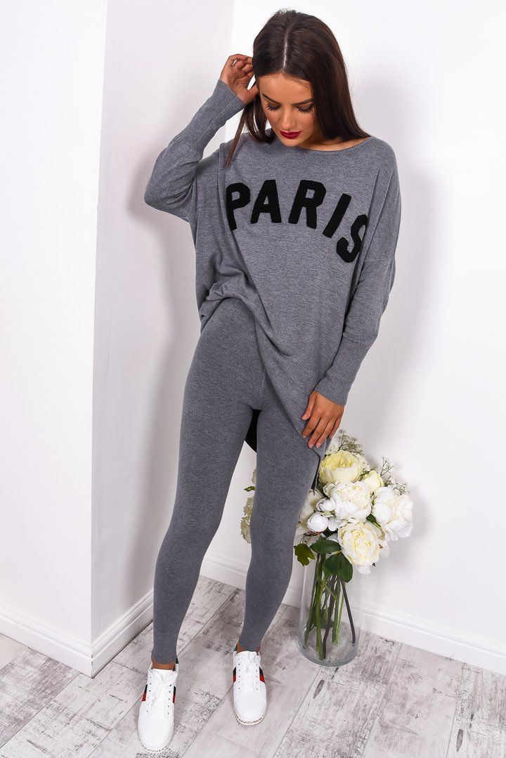ce3e59fb0a Grey loungewear set Grey co-ord set with leggings and long sleeved jumper  with large  Paris  print. Model wears S M Model is a UK size 8…