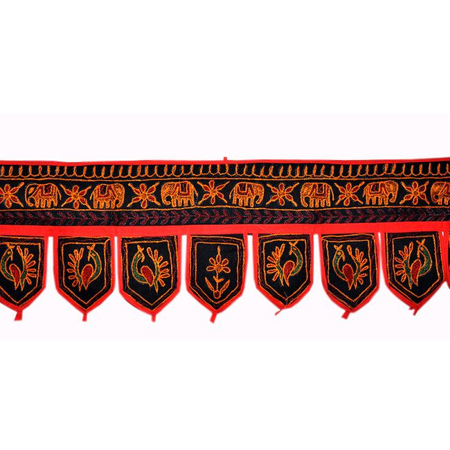 Size: 10 X 38 Inches * Color: Black * Fabric: Cotton Intricate design gives a special ethnic touch to your home. An excellent show piece & also comfortable to use. Just Pretty up to your room with this beautiful Door Hanging. made with very beautiful & creative Elephant Design. It has Embroidery Work all over. which makes it very Attractive & Traditional. This beautiful piece is rarely found. $5.5