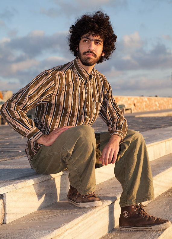 Vintage Men Striped Cord Shirt, Olive Green-Navy Blue-Wine-Beige, 100% Cotton…
