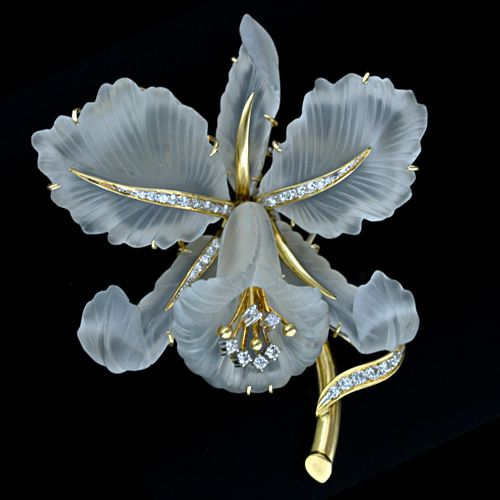 Vintage Cattleya Orchid Carved Rock Crystal and Diamond Brooch