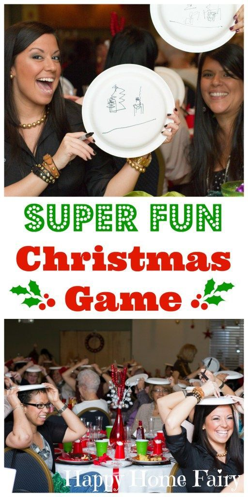 Christmas game- draw specified scene on plate atop your head, points awarded to determine winner :)