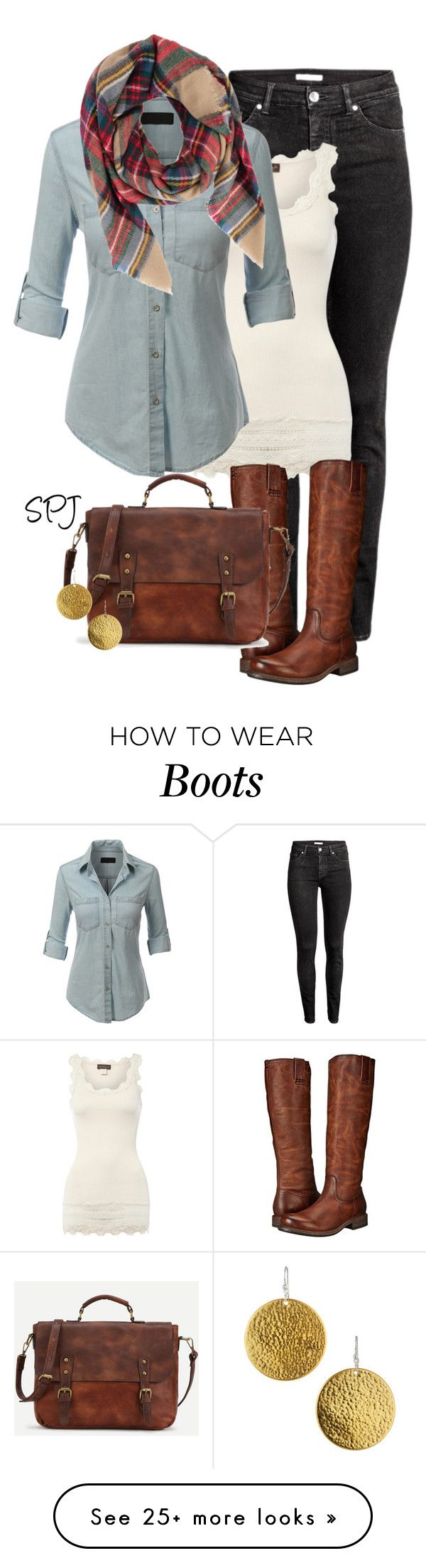 """Riding Boots & Denim"" by s-p-j on Polyvore featuring H&M, Rosemunde, LE3NO, Armitage Avenue, Frye and Gurhan"