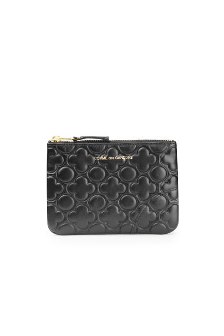 EMBOSSED SMALL ZIP POUCH - BLACK