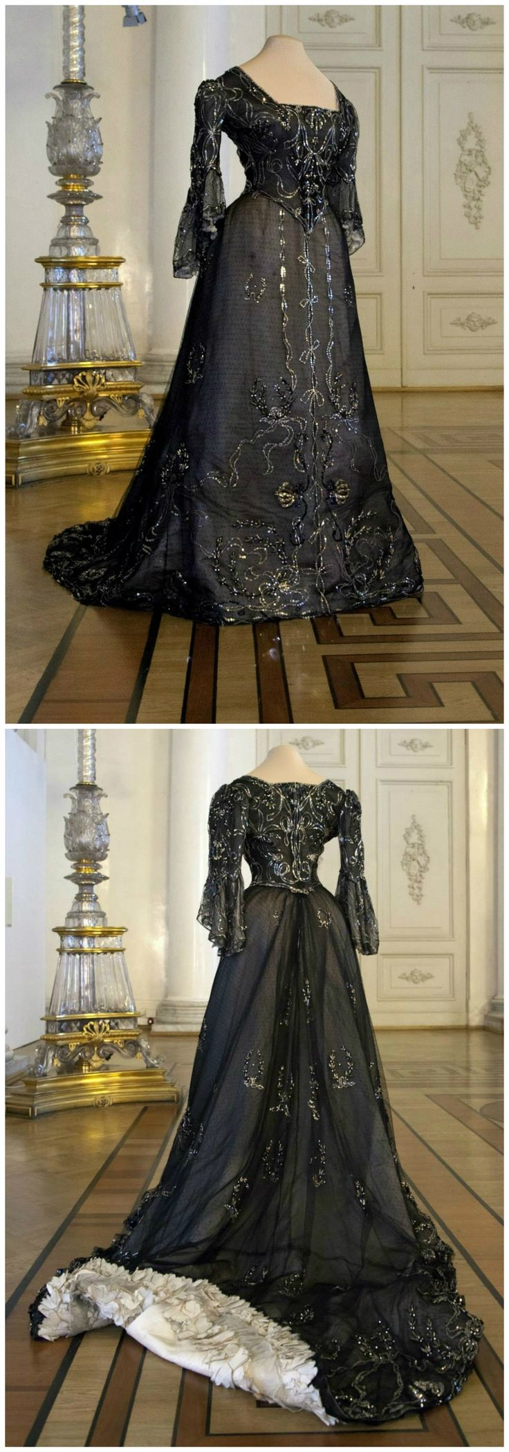Louis XVI style black ball dress. Belonged to Empress Alexandra Feodorovna. Designed by A. Brisac, St. Petersburg. Circa 1903. Photos via the State Hermitage Museum Official Page on Facebook.