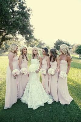 Long and flowy bridesmaids: Pink Bridesmaid, Bridesmaid Dresses, Wedding Ideas, Color, Bridesmaids Dresses, Wedding Dress, Dream Wedding, Future Wedding, Pink Dress