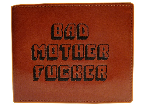 Embroidered Bad Mother Fucker Leather Wallet