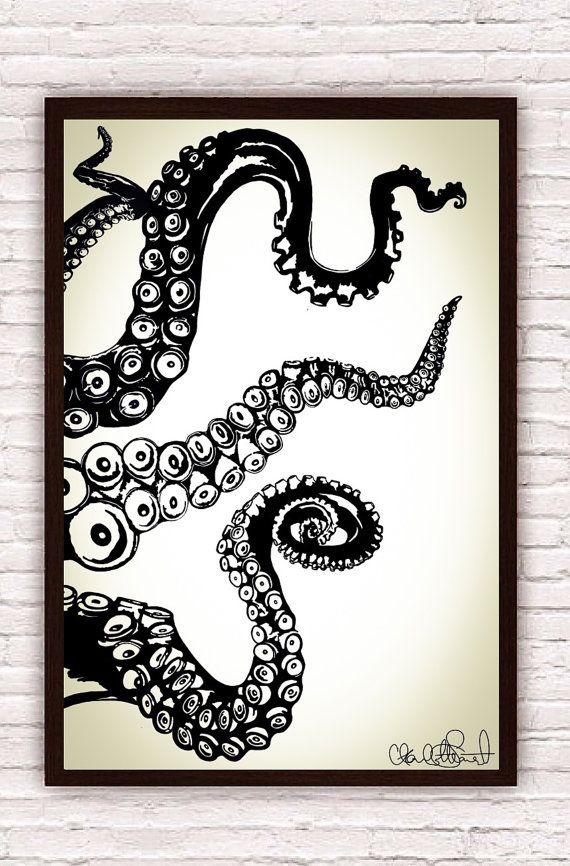 Octopus Kraken Tentacles // Nautical Ocean Wall Art // Home Decor / Beach Decor // Poster Print