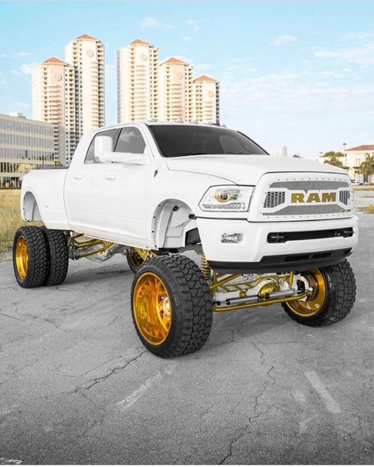 4th gen megacab dually Ram uber-lifted, all white with ...