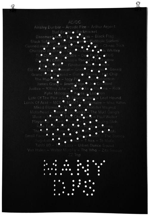 2 MANY DJ'S - Design by Studio Plastac Paris  Affiche unique (mine de plomb et perforation sur papier noir). Pièce exposée dans le cadre d'Elektricity 2013 (festival de musique).